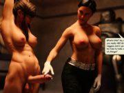 3D Futanari Babes Cum In Own Face!